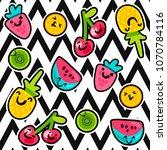 vector summer fruits patterns... | Shutterstock .eps vector #1070784116