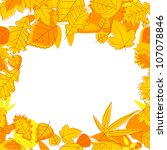 Autumnal seasonal frame with red, orange and yellow leaves. Jpeg version also available in gallery - stock vector