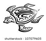 underwater turtle in tribal...   Shutterstock .eps vector #107079605