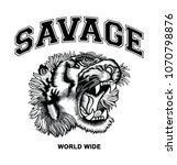 hand drawn tiger and savage... | Shutterstock .eps vector #1070798876