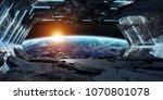 huge blueish asteroid spaceship ... | Shutterstock . vector #1070801078