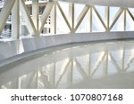 a white overpass with a steel...   Shutterstock . vector #1070807168