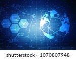2d illustration technology...   Shutterstock . vector #1070807948