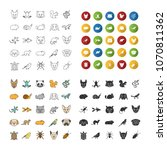 pets icons set. exotic animals. ... | Shutterstock .eps vector #1070811362