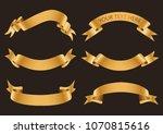 set of gold ribbons.golden... | Shutterstock .eps vector #1070815616