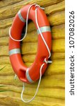 red life buoy hanging on a... | Shutterstock . vector #107082026