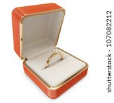 Golden Wedding Ring with Diamond in a Box isolated on white background - stock photo