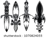 icon set of ancient swords. | Shutterstock .eps vector #1070824055