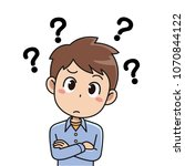 confused guy cartoon character... | Shutterstock .eps vector #1070844122