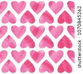 seamless pattern with hearts... | Shutterstock . vector #1070845262