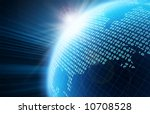 Binary Code On A Surface Of A...