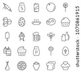 thin line icon set   cupcake... | Shutterstock .eps vector #1070861915