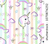 cute hand drawn unicorn vector... | Shutterstock .eps vector #1070876252