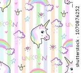 cute hand drawn unicorn vector... | Shutterstock .eps vector #1070876252