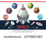 cartoon colorful space template ... | Shutterstock .eps vector #1070881385