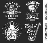 set of cooking emblem on black...   Shutterstock .eps vector #1070882882