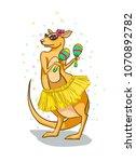 kangaroo with maracas on a... | Shutterstock .eps vector #1070892782