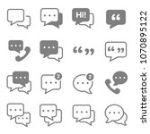 speech chat bubbles icon set.... | Shutterstock .eps vector #1070895122