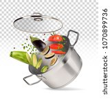 saucepan with vegetables on a...   Shutterstock .eps vector #1070899736