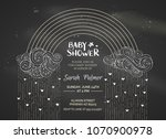 chalk baby shower invitation.... | Shutterstock .eps vector #1070900978