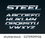 steel font  metal letters set ... | Shutterstock .eps vector #1070909936