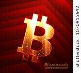 bitcoin sign on dark red... | Shutterstock .eps vector #1070915642