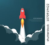 rocket launch and smoke startup ... | Shutterstock .eps vector #1070919422