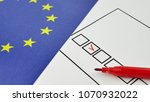 hand voting in paper ballot by...   Shutterstock . vector #1070932022
