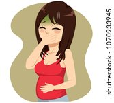 young beautiful pregnant woman... | Shutterstock .eps vector #1070933945