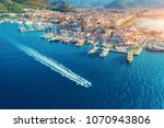 aerial view of boats  yahts ... | Shutterstock . vector #1070943806