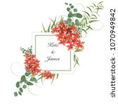 floral art wedding invitation... | Shutterstock .eps vector #1070949842