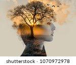 double exposure  beautiful... | Shutterstock . vector #1070972978