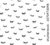 hand drawn eyelashes doodles...   Shutterstock .eps vector #1070973098