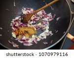 cooking onions  garlic and...   Shutterstock . vector #1070979116