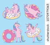 a set of four cartoon unicorns... | Shutterstock .eps vector #1070979365