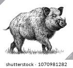black and white engrave... | Shutterstock .eps vector #1070981282