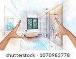 illustration dreaming and... | Shutterstock . vector #1070983778