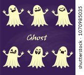 spooky ghost collection vector   Shutterstock .eps vector #1070985035