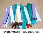 multicolored zippers zip...   Shutterstock . vector #1071002738