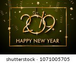 2019 happy new year background... | Shutterstock . vector #1071005705