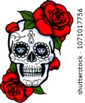 skull tatoo whith flower and... | Shutterstock .eps vector #1071017756