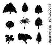 set of tree silhouettes  ... | Shutterstock .eps vector #1071020048
