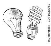 compact fluorescent light bulb... | Shutterstock .eps vector #1071030062