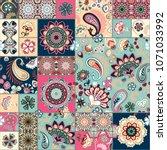 seamless patchwork background...   Shutterstock .eps vector #1071033992