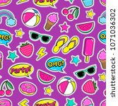 cute summer seamless colorful... | Shutterstock .eps vector #1071036302