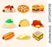 fast food illustrations  | Shutterstock .eps vector #1071043958