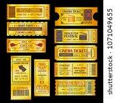 set of golden vector tickets... | Shutterstock .eps vector #1071049655