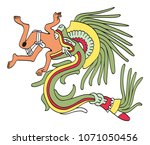 quetzalcoatl in feathered... | Shutterstock .eps vector #1071050456