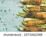 summer vegan dinner or snack.... | Shutterstock . vector #1071062348
