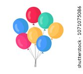bunch of air balloon isolated... | Shutterstock .eps vector #1071075086